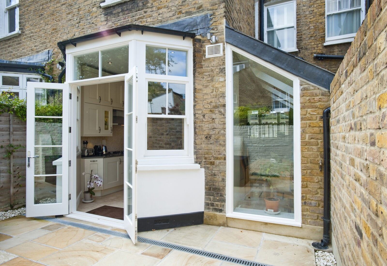 The Homeowners Wanted French Doors In Centre Of Their New Sash Bay Windows And A Full Window To Contrast Traditional Nature Building With